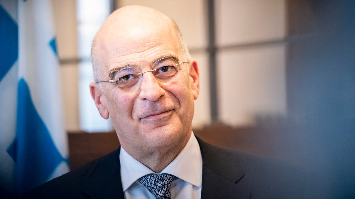 Greece's Foreign Minister Nikos Dendias is pictured at Eigtved's Pakhus in Copenhagen during a visit on February 21, 2020.