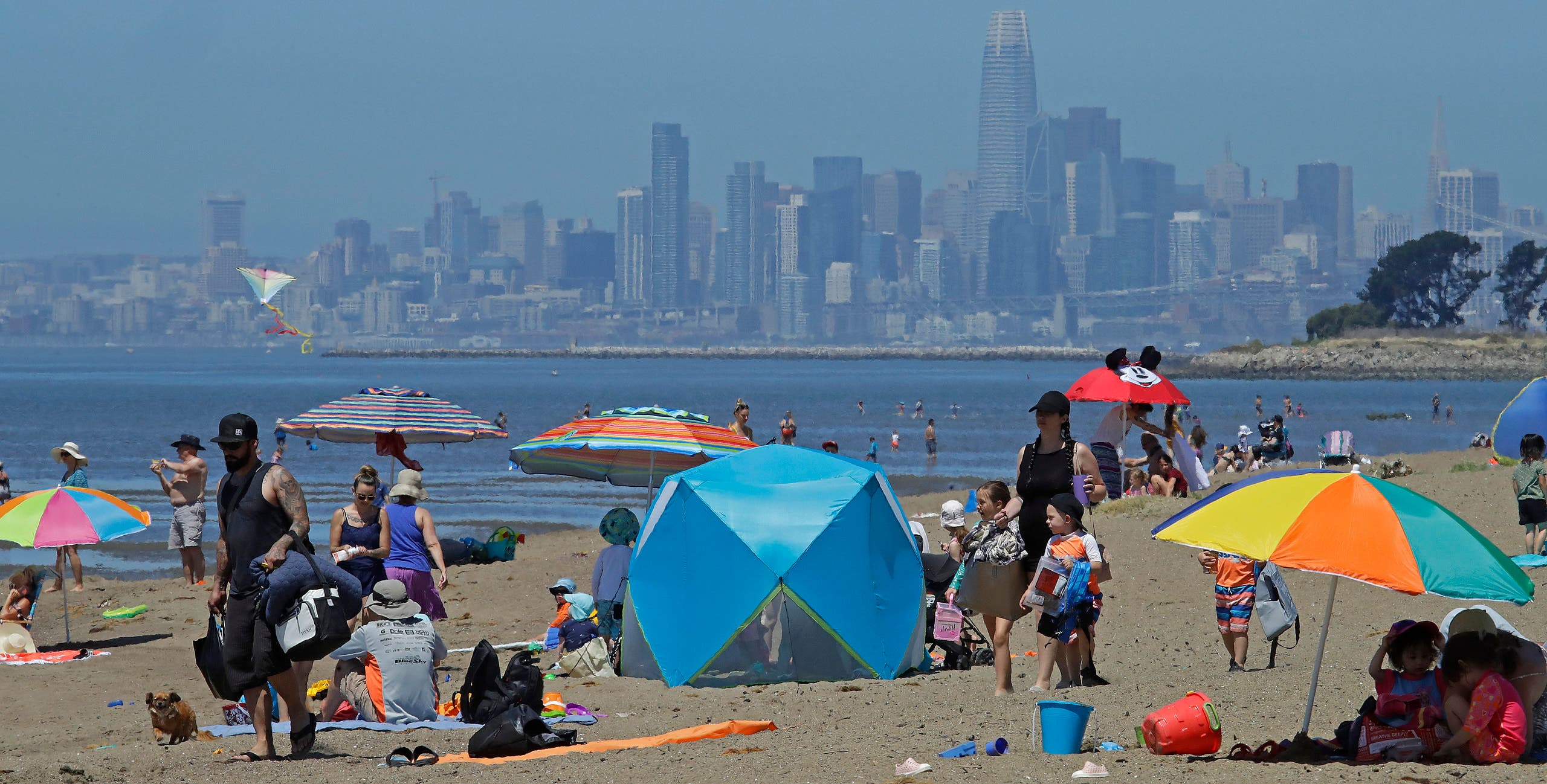People congregate on Robert W. Crown Memorial State Beach with the San Francisco skyline as a backdrop on May 26, 2020, in Alameda, Calif. (AFP)