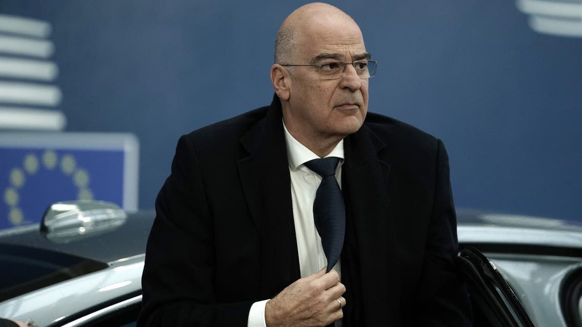 Greek Minister for Foreign Affairs Nikos Dendias arrives to attend a EU foreign ministers emergency talks on Iran at the Europa building in Brussels on January 10, 2020.