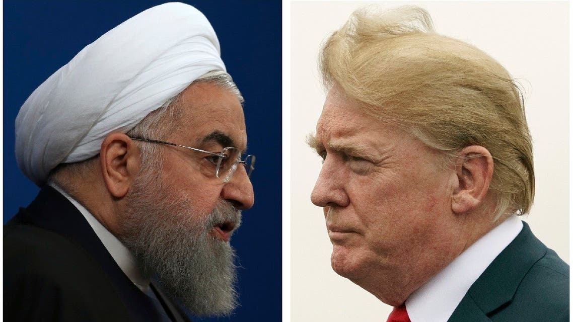 This combination of two pictures shows US President Donald Trump, right, on July 22, 2018, and Iranian President Hassan Rouhani on Feb. 6, 2018. (AP)