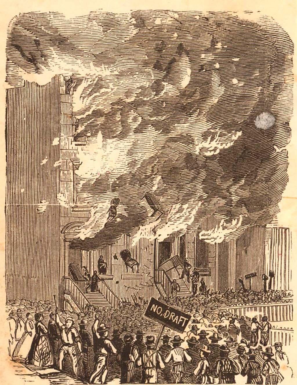 رسم يجسد جانبا من أعمال العنف بنيويورك