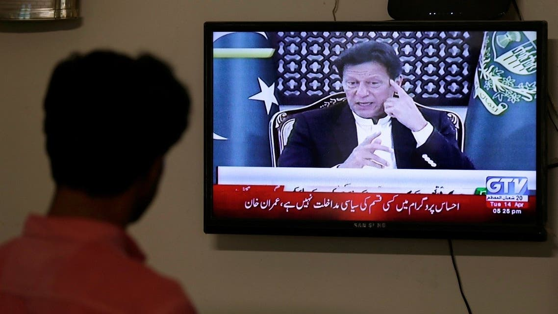 A television screen displays Prime Minister of Pakistan Imran Khan. (Reuters)