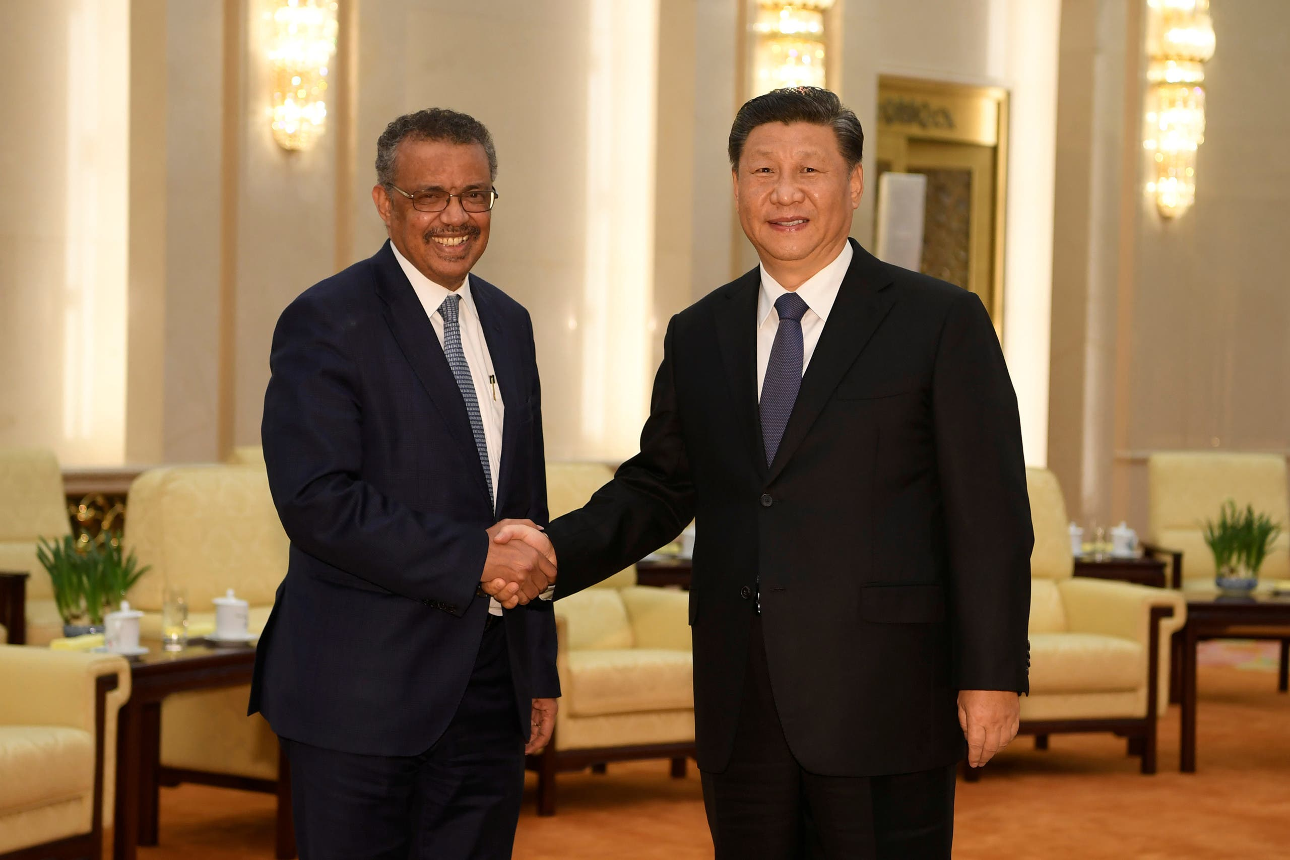 الرئيس الصيني ومدير منظمة الصحة في بكين يوم 28 يناير
