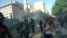 وائٹ ہاوس کے اطراف میں میدان جنگ کا منظر، پولیس اور مظاہرین میں جھڑپیں