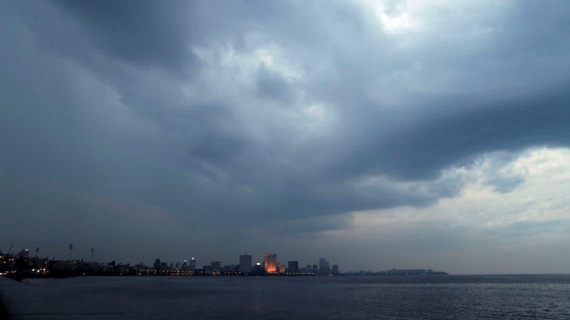 Rain clouds fill the sky on the Arabian Sea coast in Mumbai, India on June 2, 2020. (AP)
