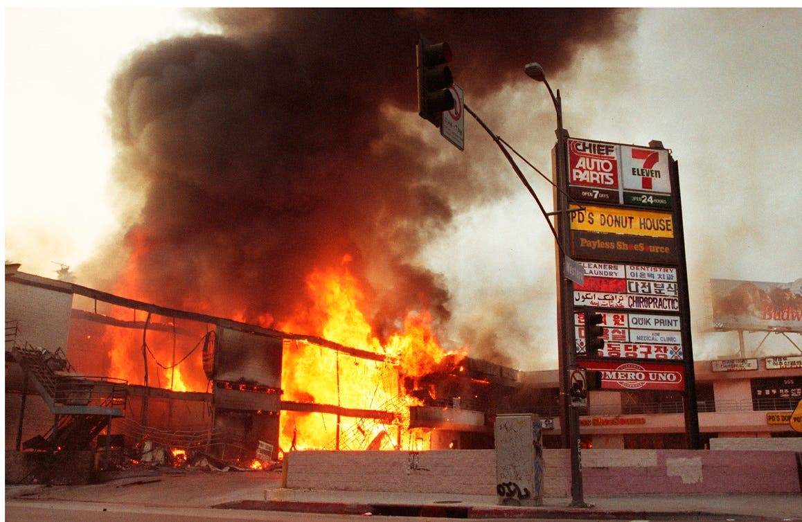 A picture shows a corner shopping center that was burned down during the 1992 Los Angeles Riots following the killing of Rodney King, May 1, 1992, Los Angeles, California April 25, 2012. (Reuters)