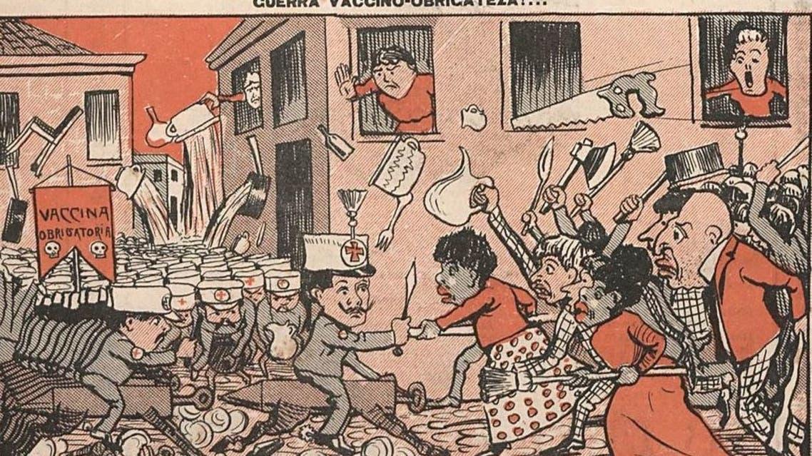رسم ساخر يجسد حالة الفوضى بريو دي جانيرو بسبب التلقيح