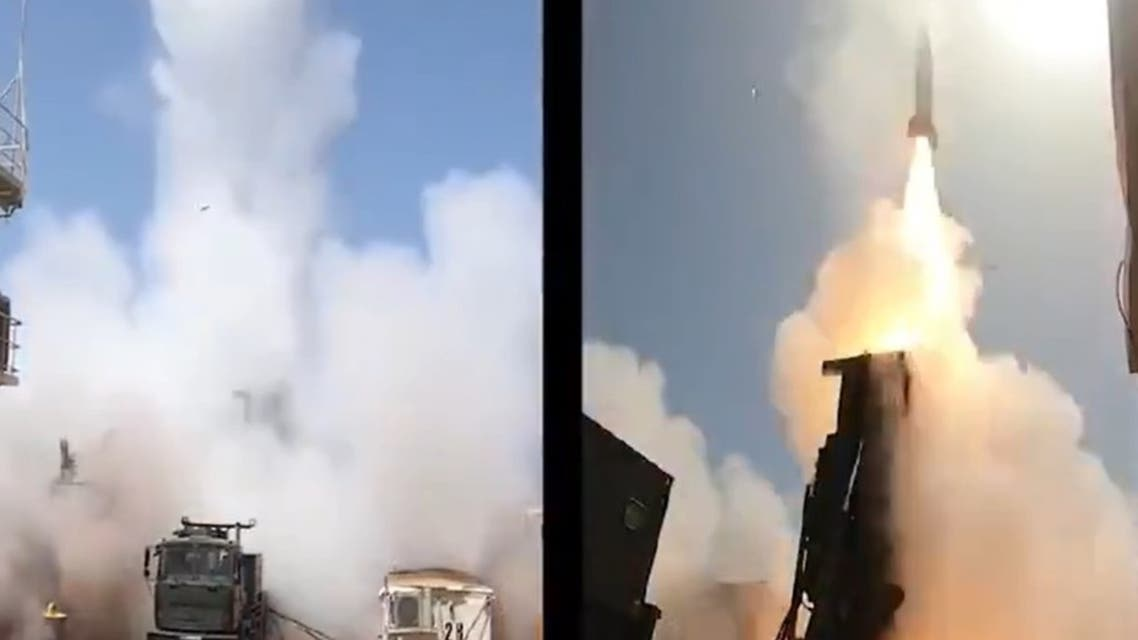 A screengrab from a video posted by Israel Aerospace Industries showing a test involving two Long-Range Artillery Weapon Systems (LORA). (Twitter/ @ILAerospaceIAI)