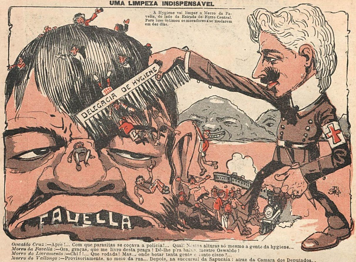 رسم ساخر يجسد حملة التنظيف بريو دي جانيرو