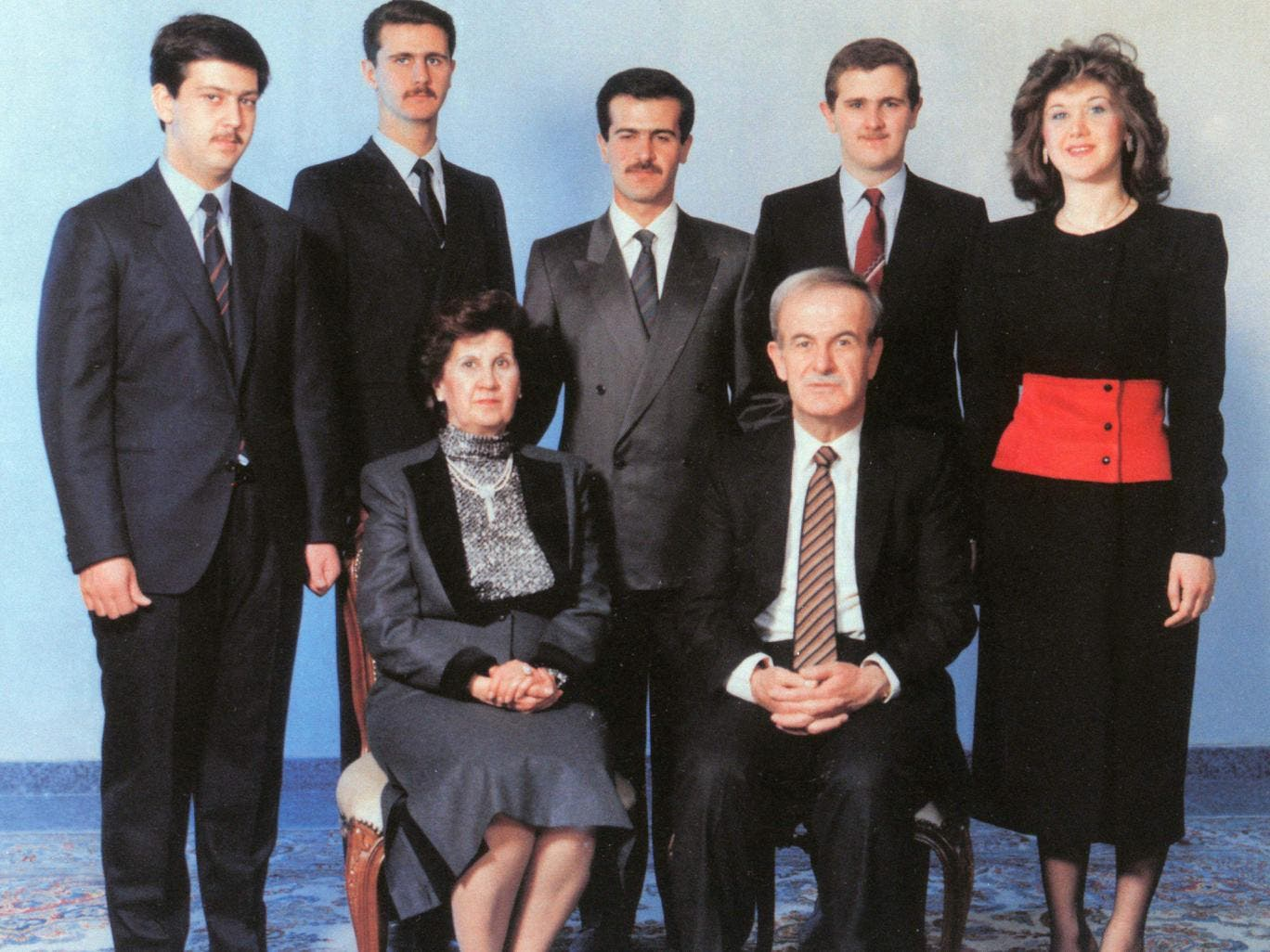The Assad family. Aniseh Makhlouf (lower left) and Hafez al-Assad (lower right), with their five children behind them. (AFP)