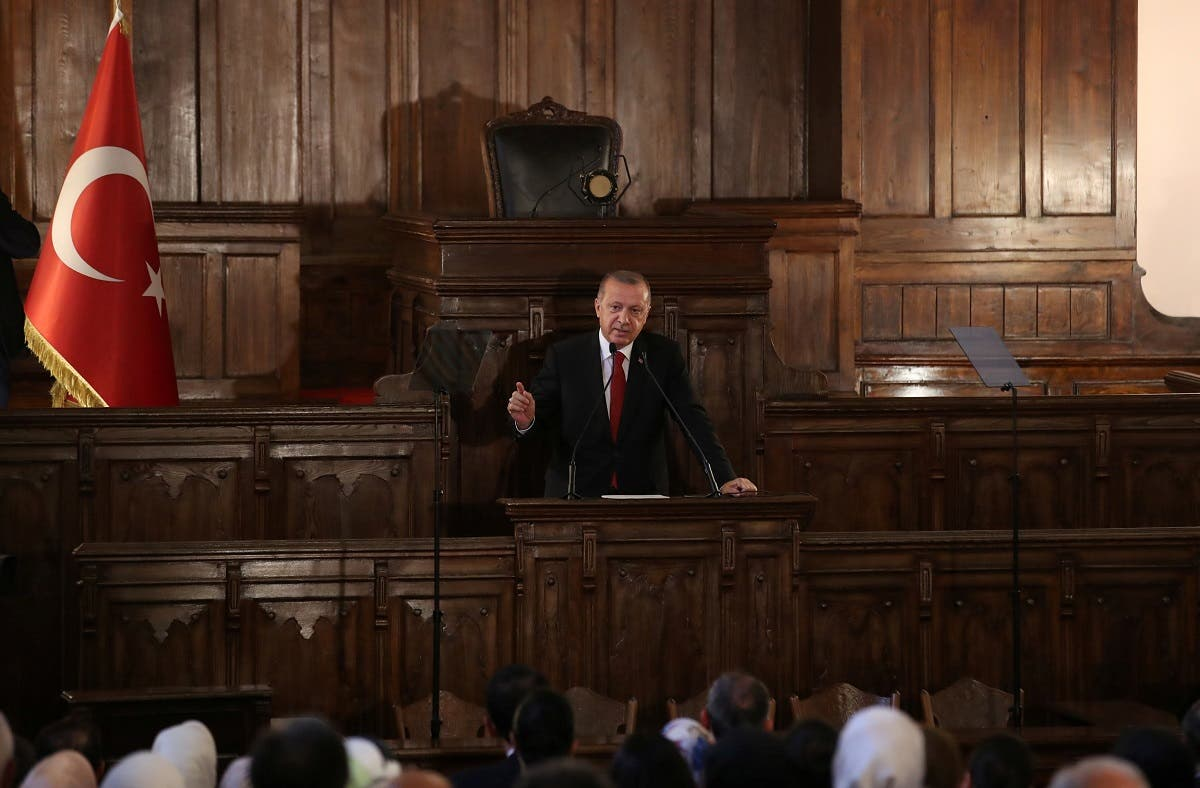 President Erdogan makes a speech at the old parliament building in Ankara, Turkey July 13, 2018. (Reuters)