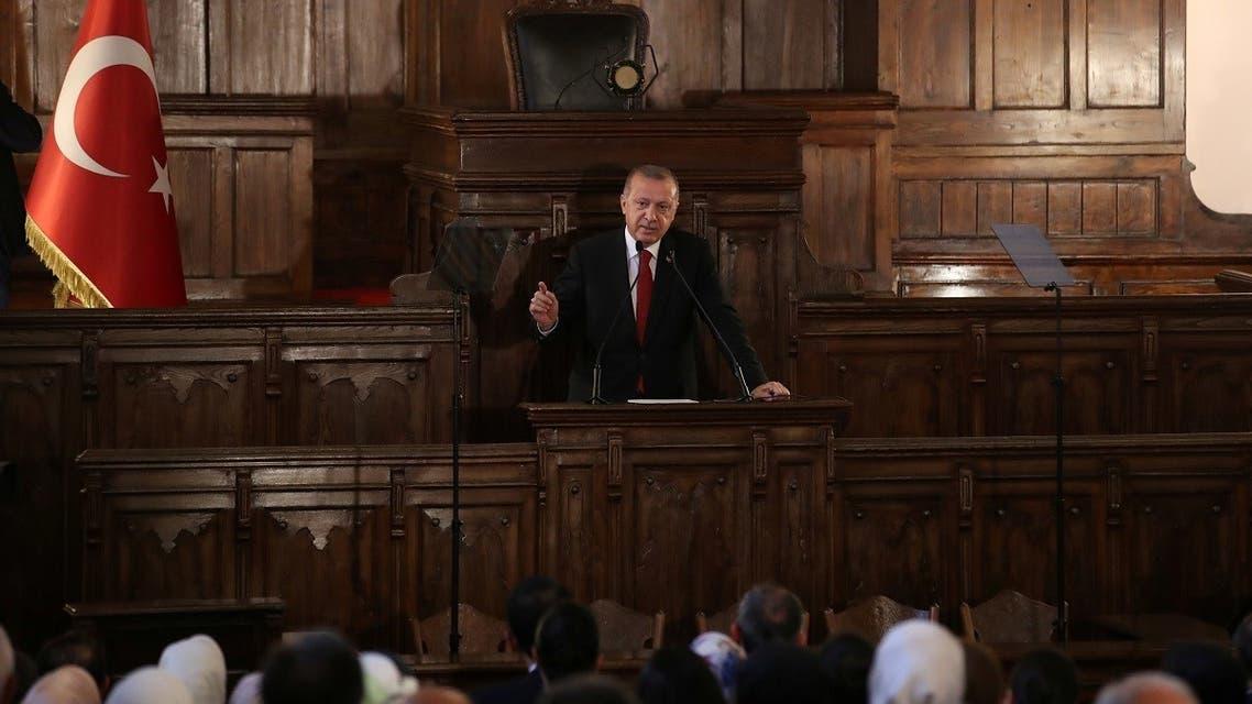 Turkish President Tayyip Erdogan makes a speech at the old parliament building in Ankara, Turkey July 13, 2018. (Reuters)