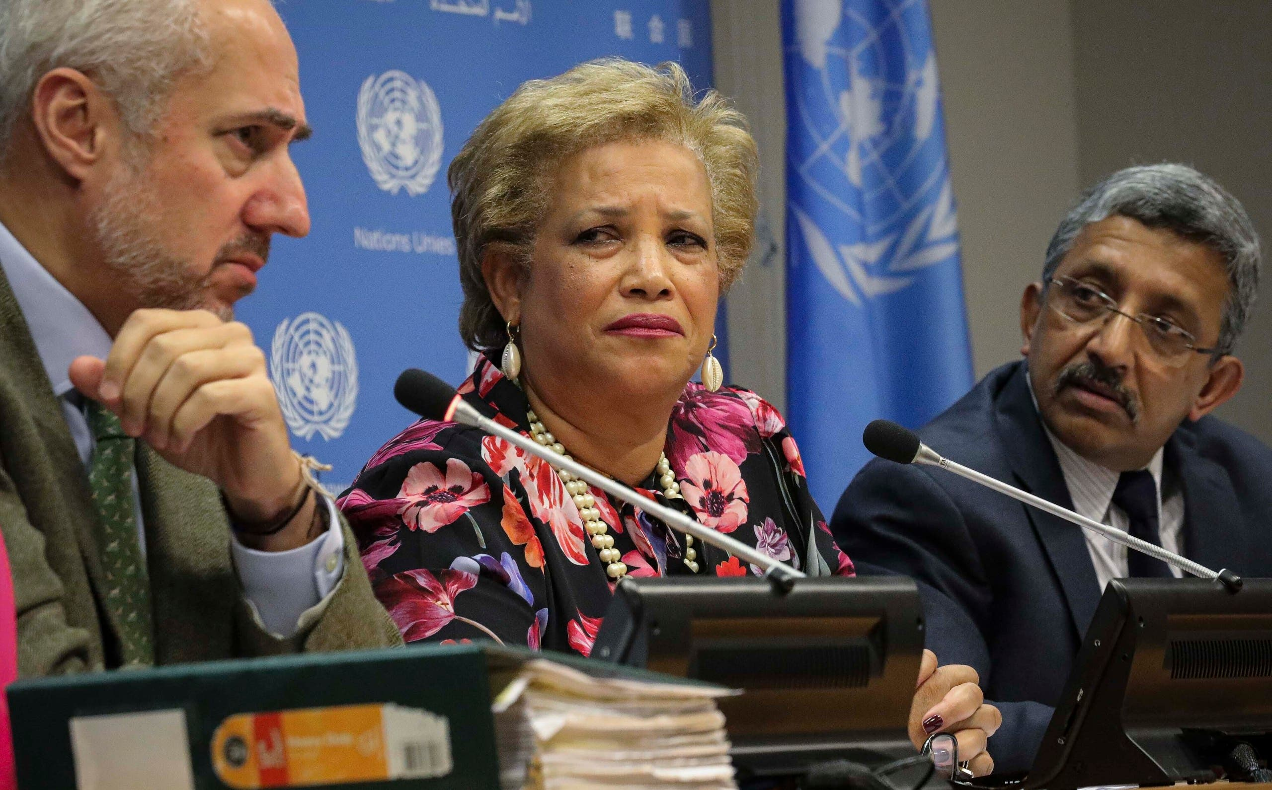 File photo of United Nations spokesman Stephane Dujarric, (left), with other UN officials at the UN headquarters. (AP)