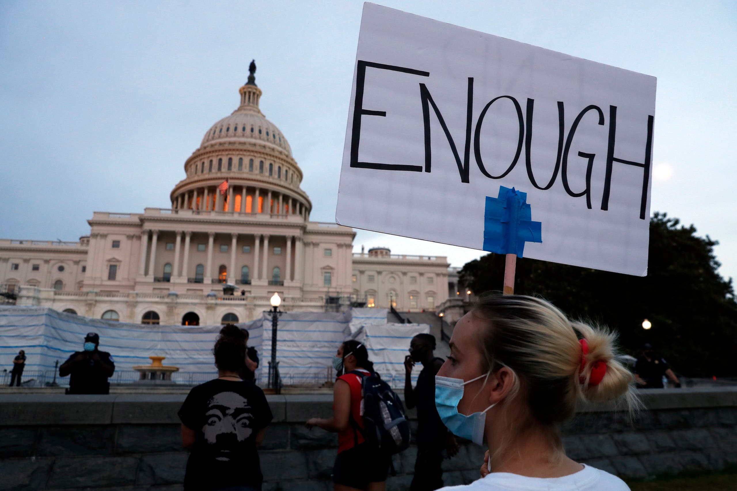 Demonstrators protest the death of George Floyd,on June 3, 2020, at the US Capitol in Washington. (AP)