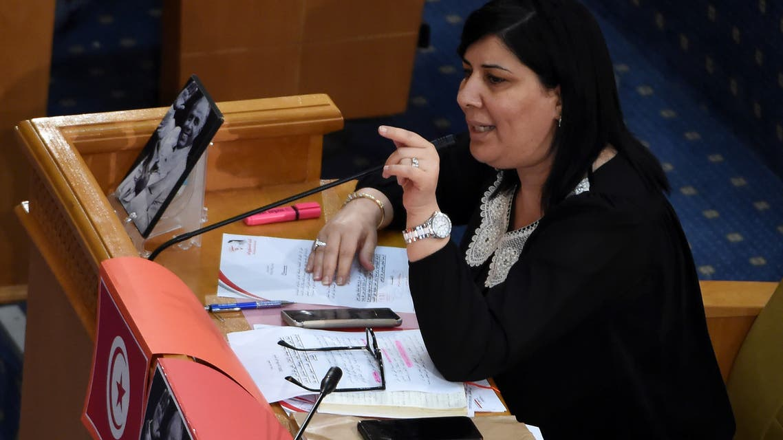 Abir Moussi, Tunisian leader of the Free Destourian Party (PDL), attends a plenary session devoted to discussing a motion tabled by her party and the situation in Libya, on June 3, 2020. The plenary session is held against the backdrop of heated controversy over the contacts made by Assembly President Rached Ghannouchi with a stakeholder in the Libyan conflict. Ghannouchi, leader of the Islamist-inspired Ennahdha party, overshadows the President of the Republic Kais Saied on the diplomatic scene, a sign of deep tensions despite the sacred union during the health crisis.