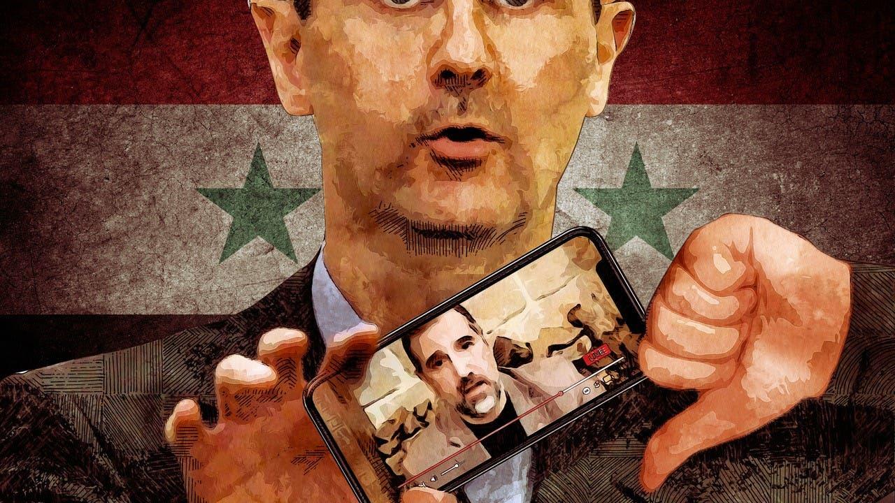 President Bashar al-Assad and his cousin Rami Makhlouf. Illustration for Al Arabiya English by Steven Castelluccia