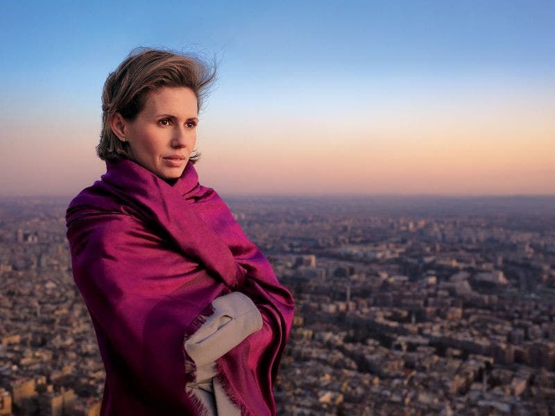 A shot of Asma al-Assad in her 'Rose in the Desert' Vogue Cover shoot, via Twitter (@therussophile)