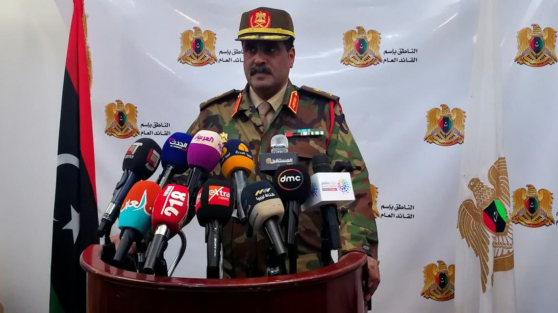 Spokesman of Libyan National Army (LNA) colonel Ahmed al-Mismari talks during a news conference in Benghazi, Libya, April, 04,2019. REUTERS/Ayman al-Warfalli