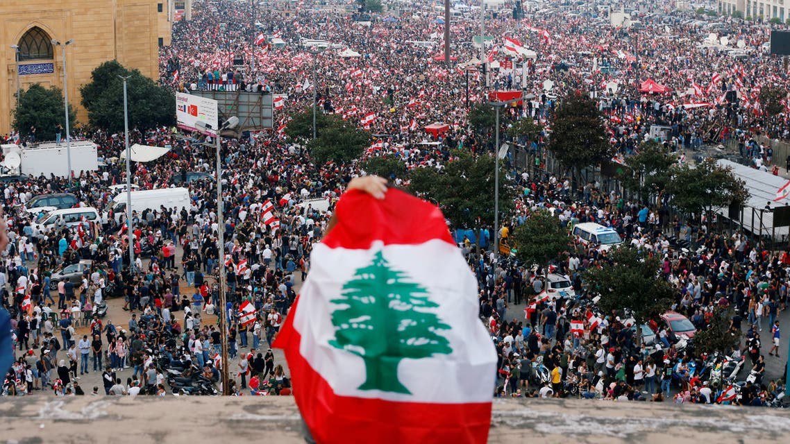 A general view of demonstrators during an anti-government protest in downtown Beirut, Lebanon October 20, 2019. (Reuters)