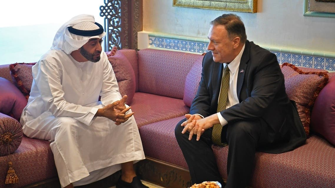 US Secretary of State Mike Pompeo (R) takes part in a meeting with Abu Dhabi Crown Prince Mohamed bin Zayed al-Nahyan in Abu Dhabi, United Arab Emirates, on September 19, 2019. (AFP)