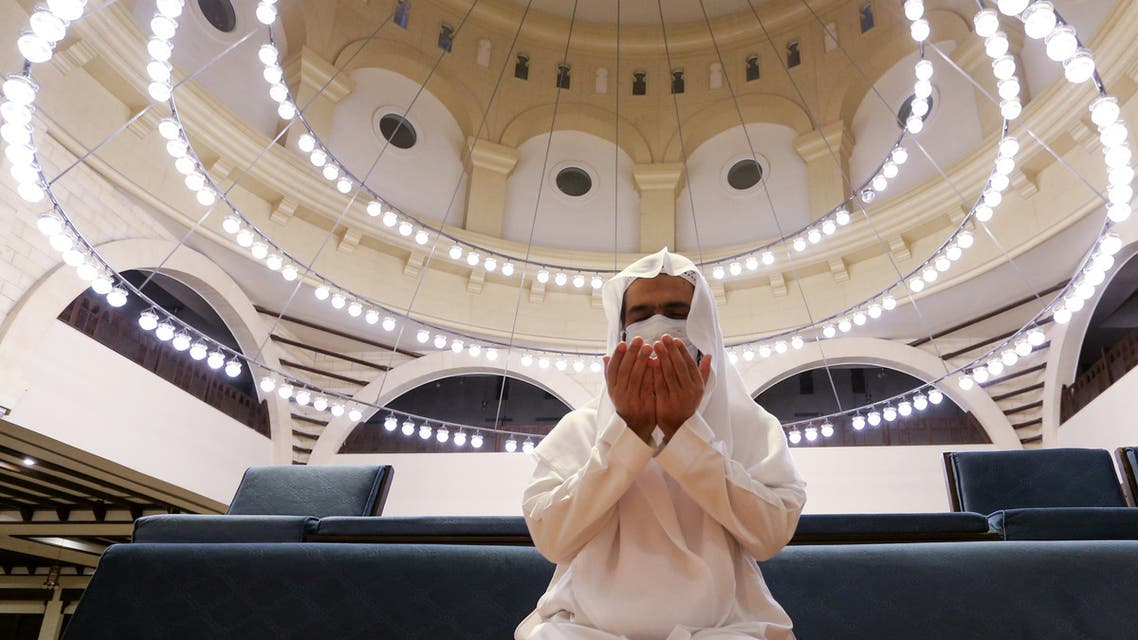 A Saudi Arabian man prays inside the Al-Rajhi Mosque in Riyadh, Saudi Arabia on May 31, 2020. (Reuters)