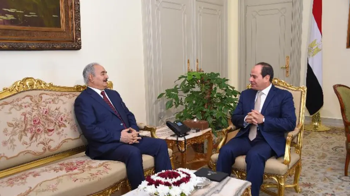Egyptian President Abdel Fattah al-Sisi and LNA commander Gen. Khalifa Haftar. (Supplied)