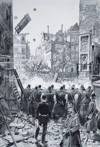 رسم تخيلي يجسد عملية قمع الإحتجاجات بأمستردام