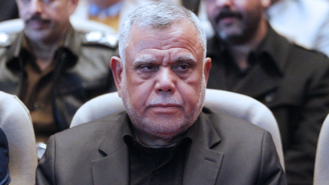 Hadi al-Ameri, head of Iraq's Badr organisation and a leader of the mostly Shiite Hashed al-Shaabi paramilitary units, attends a memorial service held in Baghdad's high-security Green Zone on February 11, 2020 to mark 40 days since the killing of Iran's late top general Qasem Soleimani and Iraqi paramilitary commander Abu Mahdi al-Muhandis in a US drone strike near Baghdad airport last month. Muhandis, deputy head of Iraq's powerful Hashed al-Shaabi military network, was killed alongside Soleimani in a drone strike, authorised by US President Donald Trump, in the early hours of January 3, 2020, which hit the two-car convoy in which they were travelling. According to US officials, the strike had not specifically targeted Muhandis.