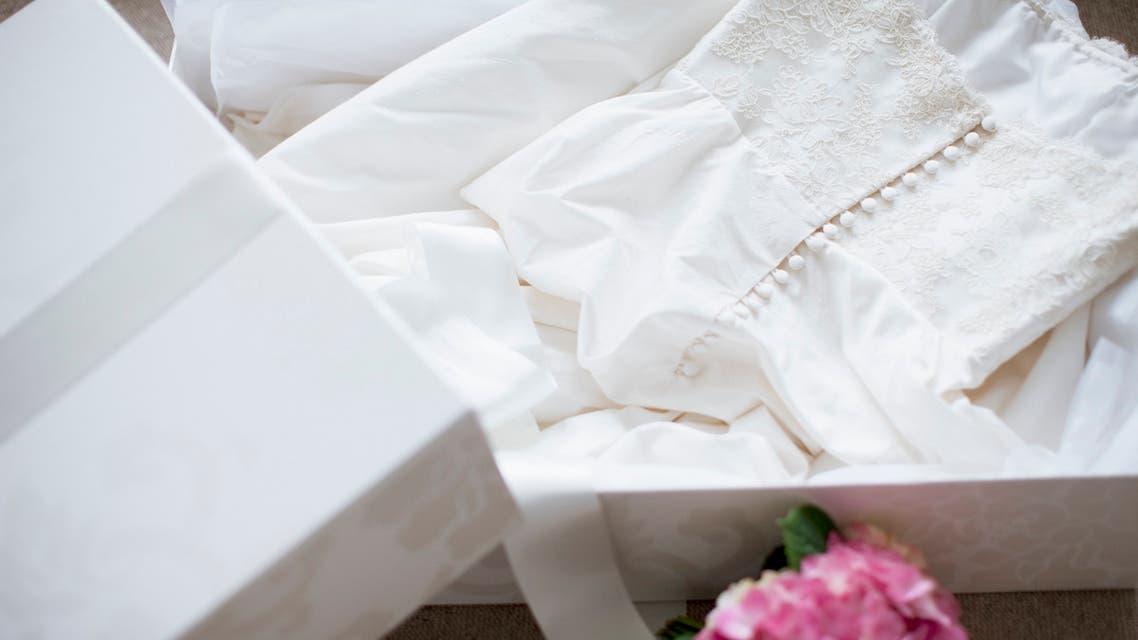 Wedding dress in box stock photo