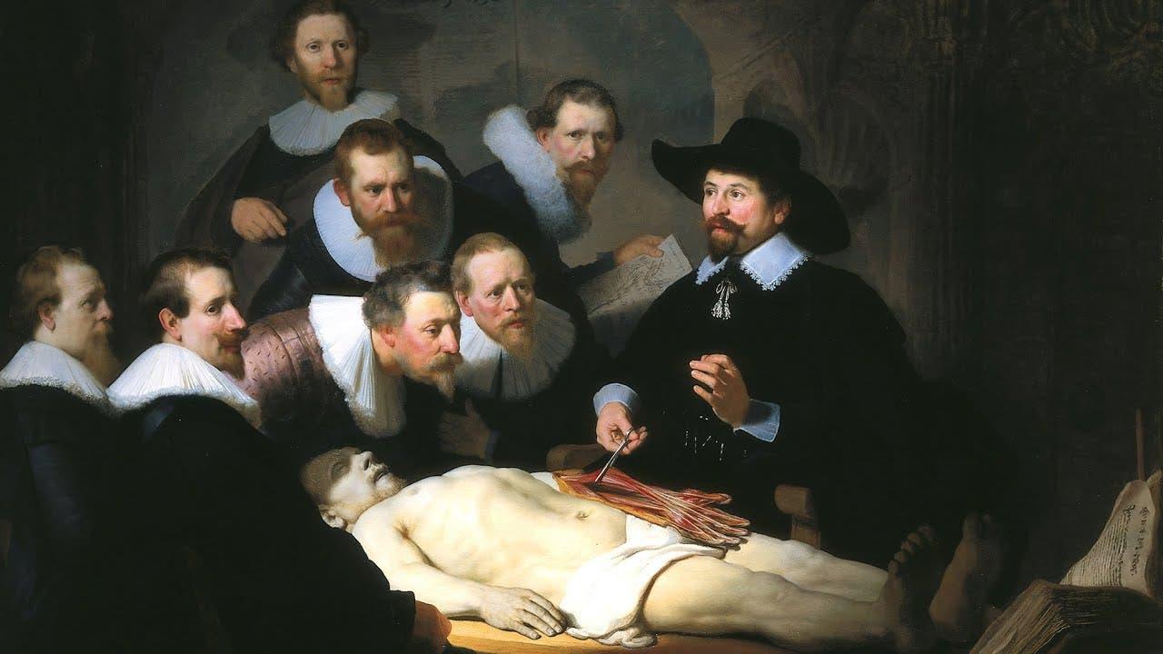 لوحة زيتية تجسد إحدى عمليات التشريح بالقرون الماضية