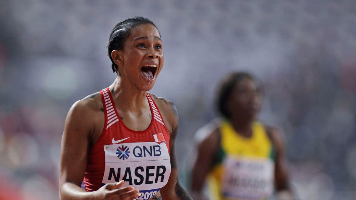Salwa Eid Naser reacts after winning the gold medal in the women's 400 meter final at the World Athletics Championships in Doha, Qatar on Oct. 3, 2019. (AP)