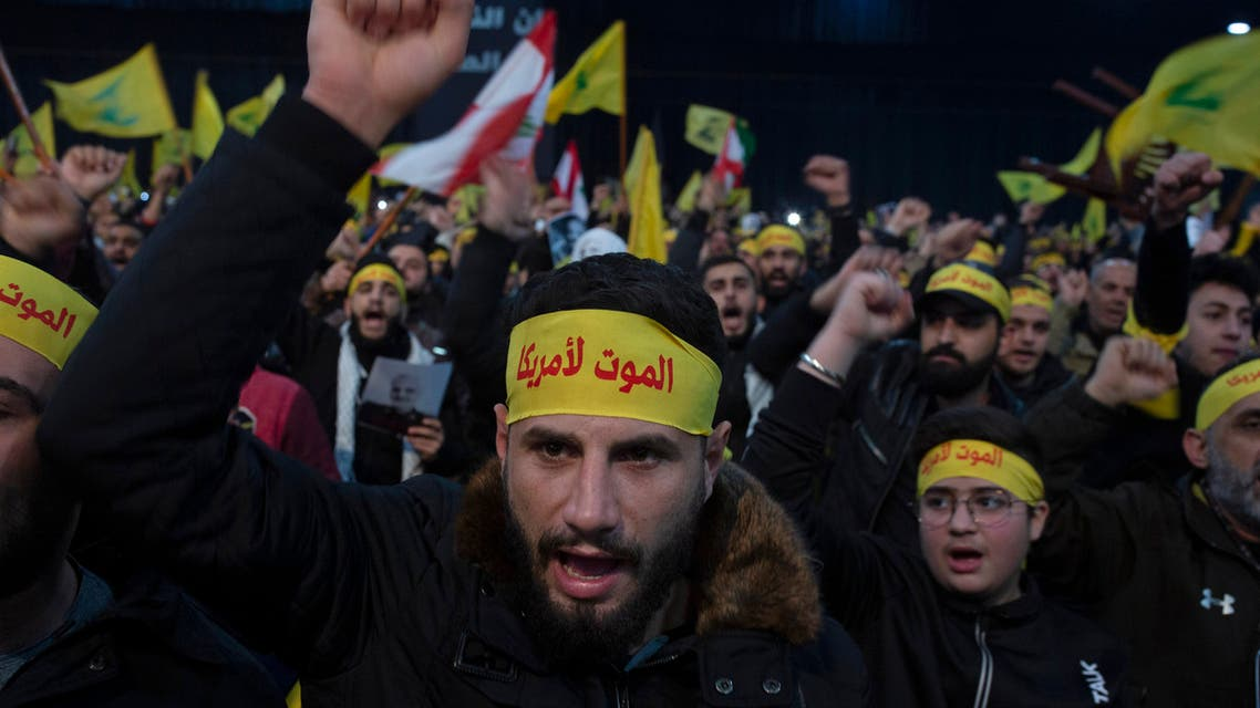 Supporters of Hezbollah chant slogans in a southern suburb of Beirut, Lebanon. The headbands read, Death to America. (File Photo: AP)