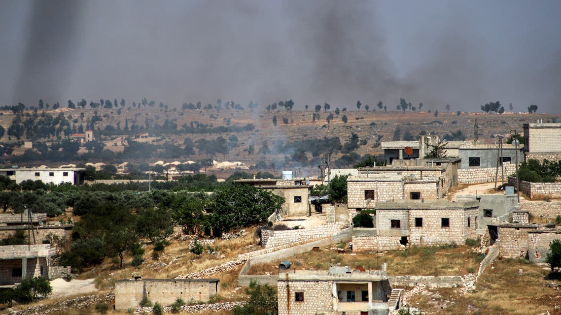 This picture taken on June 4, 2020 shows smoke plumes rising following shelling by pro-Syrian government forces in the town of Banin, north of Maaret al-Numan in Syria's northwestern Idlib province. (File photo: AFP)