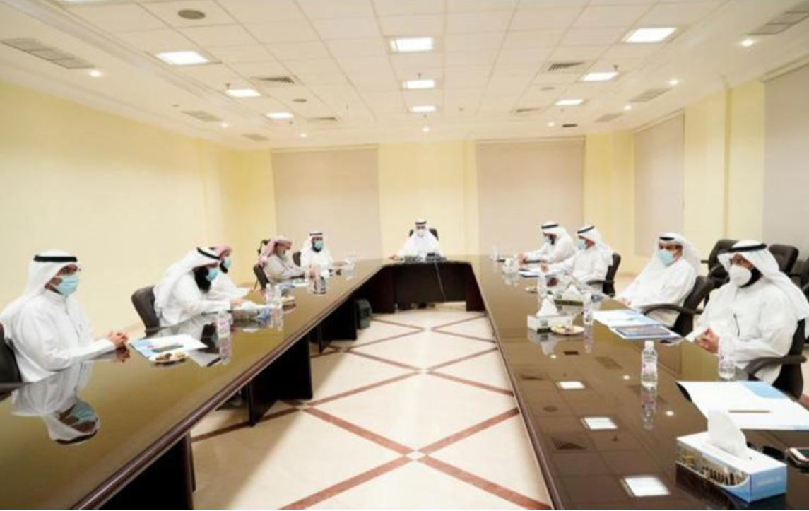 Kuwaiti Minister of Awqaf and Islamic Affairs Dr. Fahad al-Afasi (center) chairs meeting June 8, 2020. (KUNA)