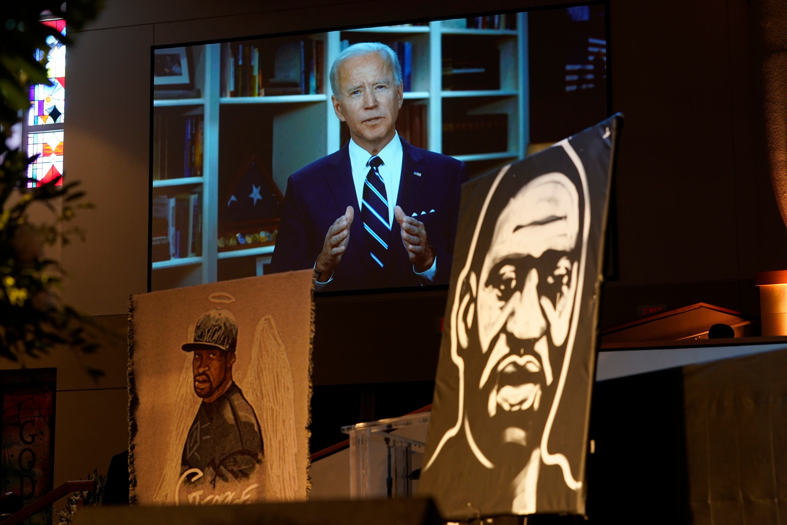 Former Vice President Joe Biden speaks via video link as family and guests attend the funeral service for George Floyd on June 9, 2020 in Houston. (AP)