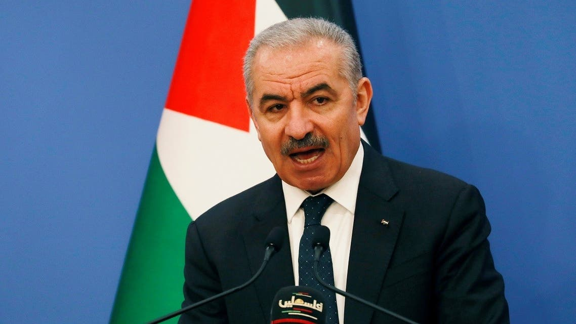 Palestinian Prime Minister Mohammad Shtayyeh speaks before the start of the weekly cabinet meeting in Ramallah in the Israeli-occupied West Bank May 11, 2020. (Reuters)