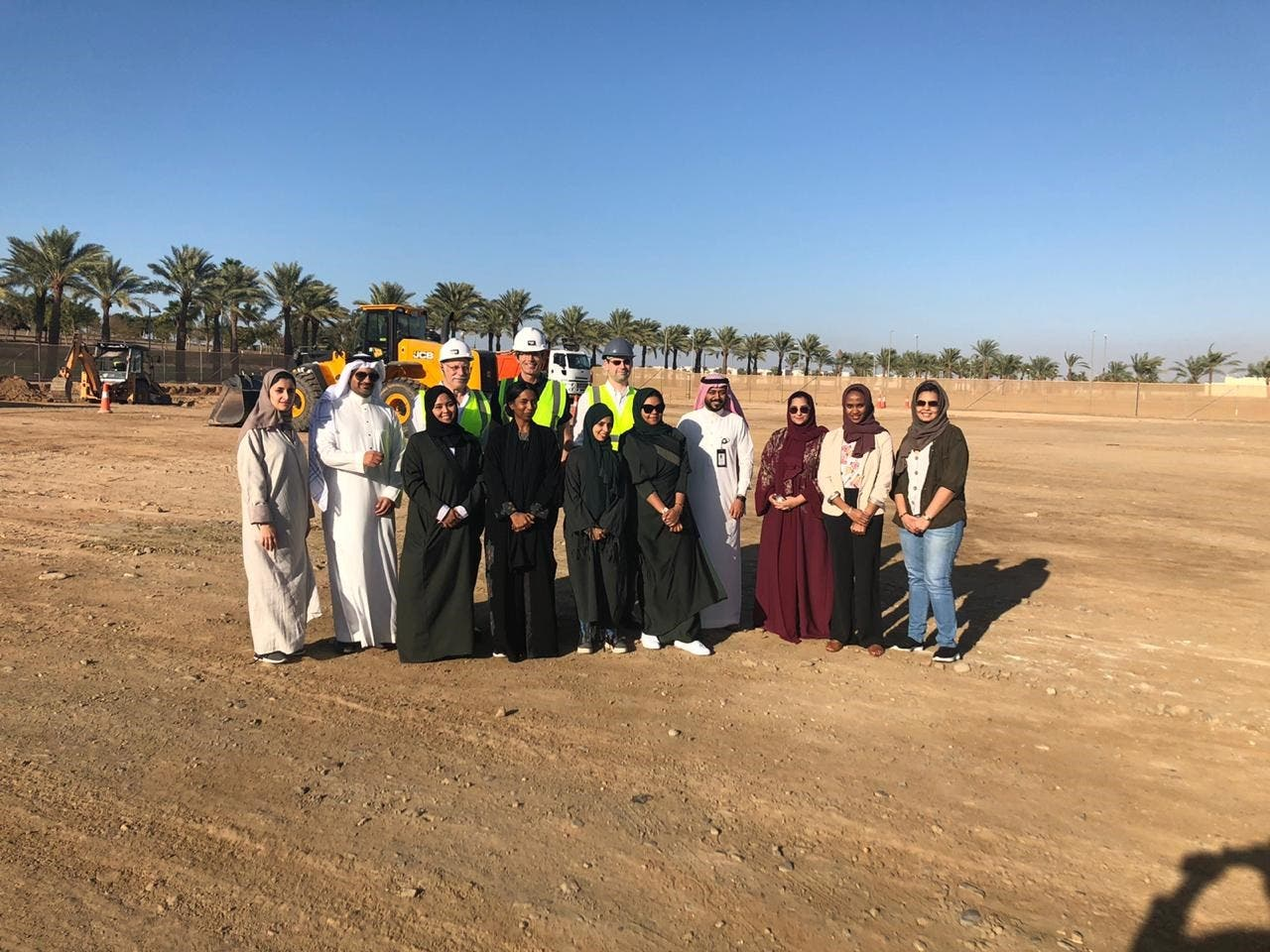 The SaudiVax team on the land where the first biological manufacturing center in the Middle East will be built, on the campus of KAUST, in January 2020. (Supplied)