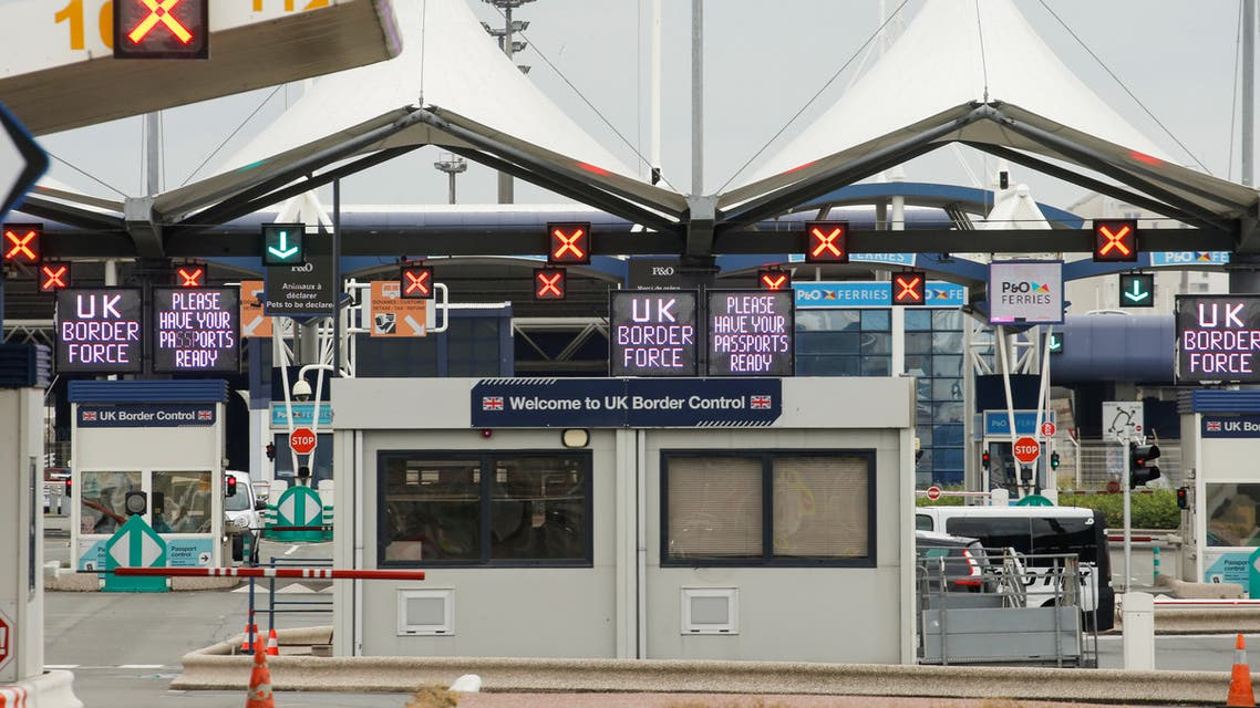UK border force booths are seen at the terminal ferry in Calais, as the 14-day quarantine for international arrivals was introduced this monday, amid the coronavirus disease (COVID-19) outbreak, in Calais, France, June 8, 2020. (Reuters)