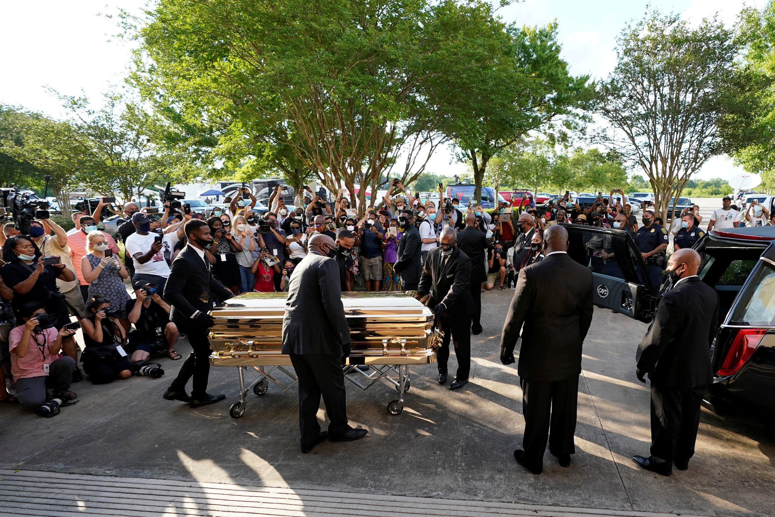 The casket of George Floyd is removed after a public visitation for Floyd at the Fountain of Praise church, Monday, June 8, 2020, in Houston, U.S. (Reuters)