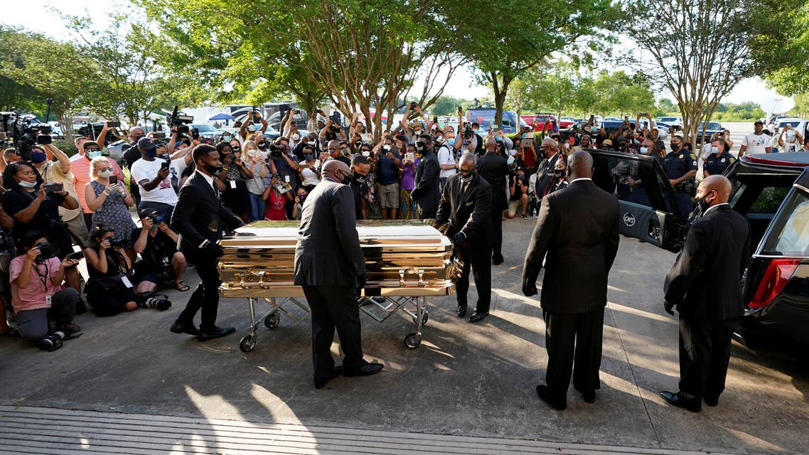 The casket of George Floyd is removed after a public visitation for Floyd at the Fountain of Praise church, Monday, June 8, 2020, in Houston, U.S. David J. Phillip/Pool via REUTERS