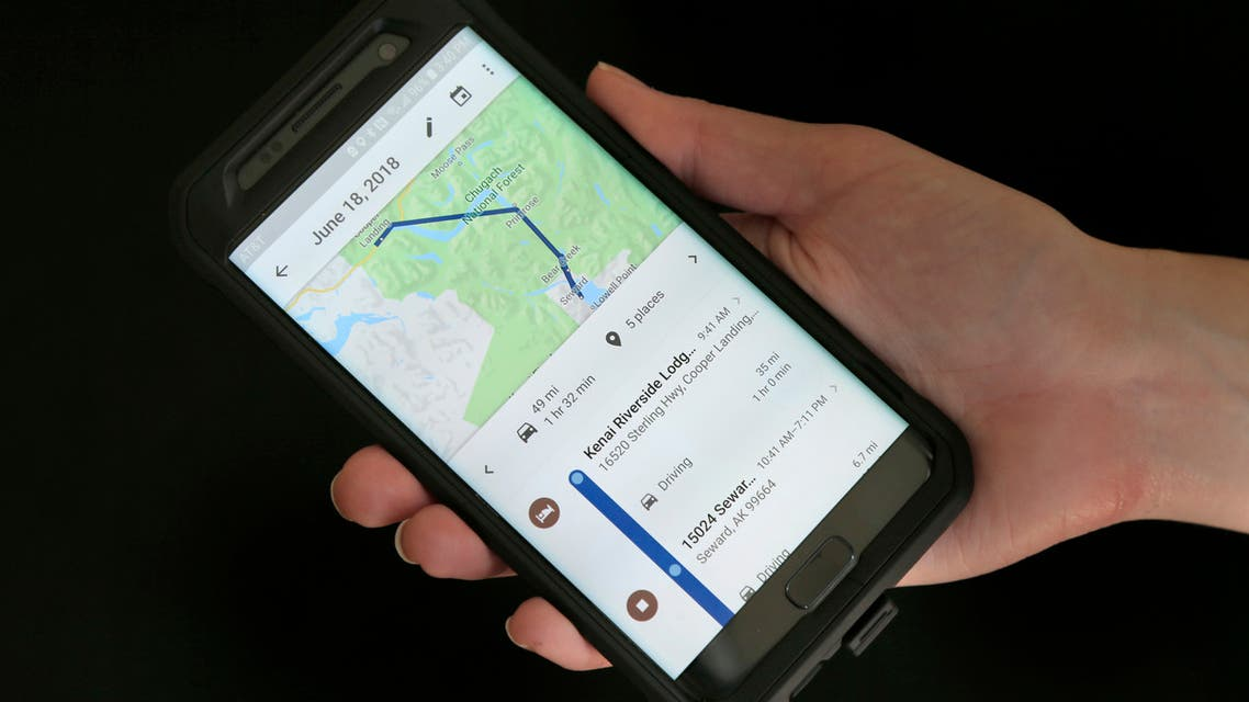 In this Aug. 8, 2018, file photo, a mobile phone displays a user's travels using Google Maps in New York. (AP)