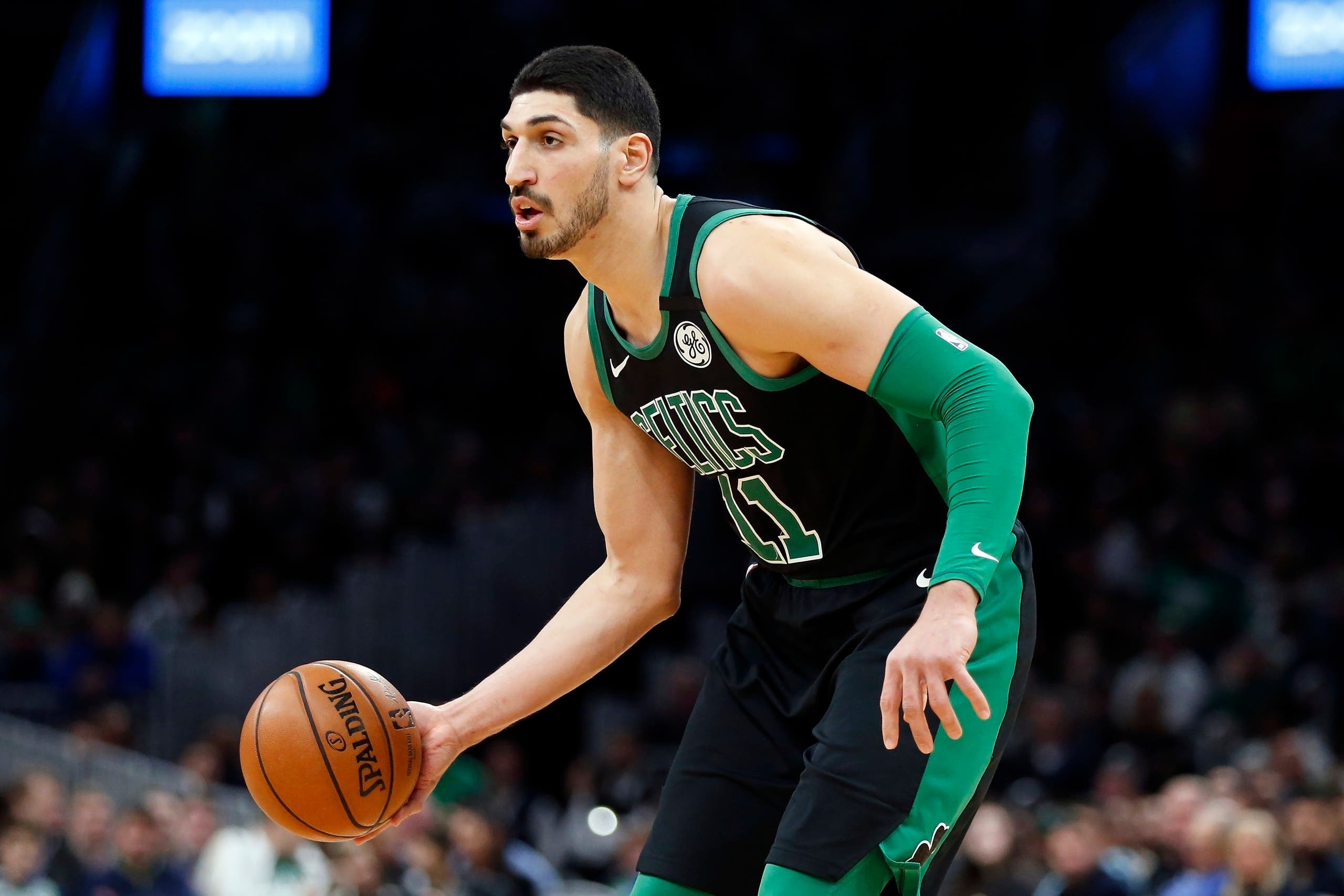 Boston Celtics' Enes Kanter during the first half of an NBA basketball game on March, 8, 2020, in Boston. (AP)