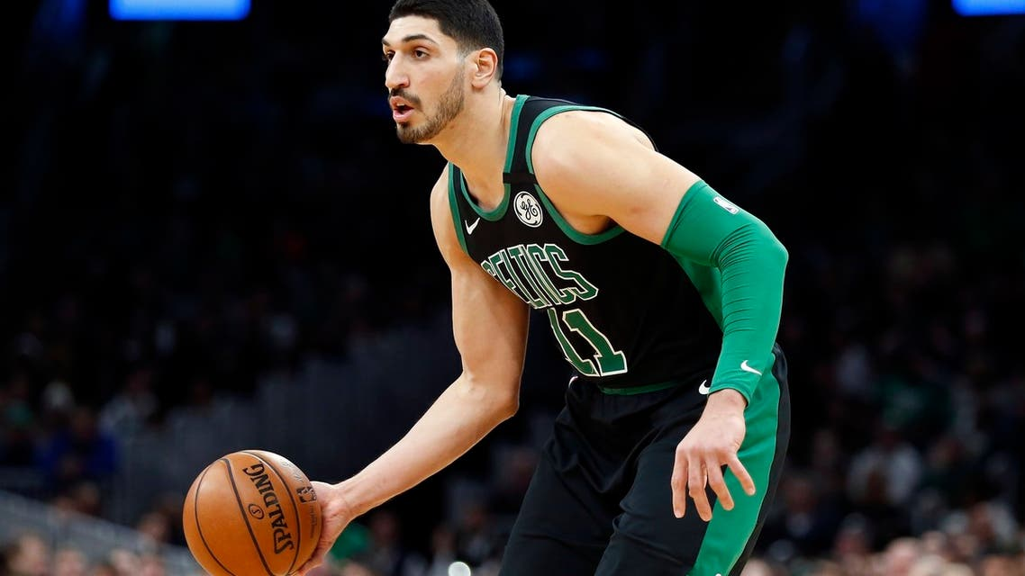 Boston Celtics' Enes Kantercduring the first half of an NBA basketball game on March, 8, 2020, in Boston. (AP)