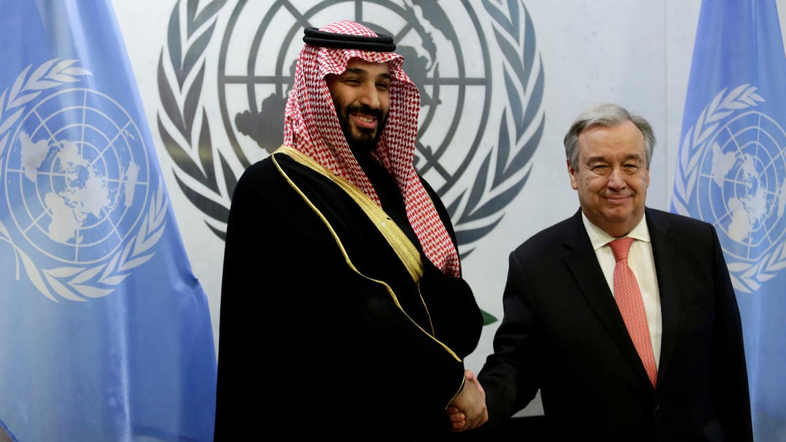 Saudi Arabia's Crown Prince Mohammed bin Salman Al Saud shakes hands with U.N. Secretary-General Antonio Guterres during a photo opportunity at the United Nations headquarters in the Manhattan borough of New York City, New York, U.S. March 27, 2018. REUTERS/Amir Levy