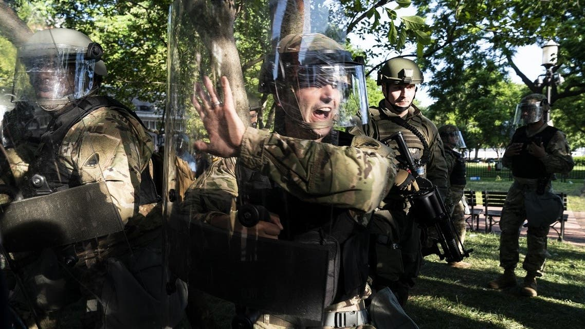 Troops gather during a demonstration on June 1, 2020 in Washington, DC. (AFP)