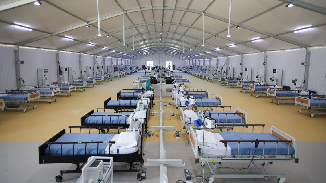General view of a fully equipped makeshift ICU Field Intensive Care Unit 2 (Sitra) set up by Bahrain authorities to treat the coronavirus disease (COVID-19) critical patients, at an island in Sitra, Bahrain, May 4, 2020. REUTERS/Hamad I Mohammed