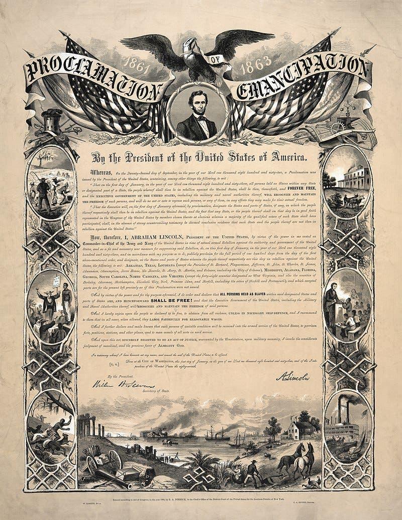 صورة لإحدى الوثائق التي تحتوي على نص الإعلان المبدئي لتحرير العبيد