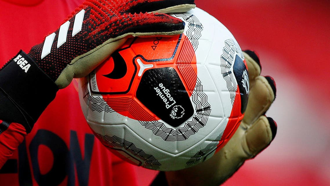 General view of a match ball held by Manchester United's David de Gea during the warm up before the match. (Reuters)