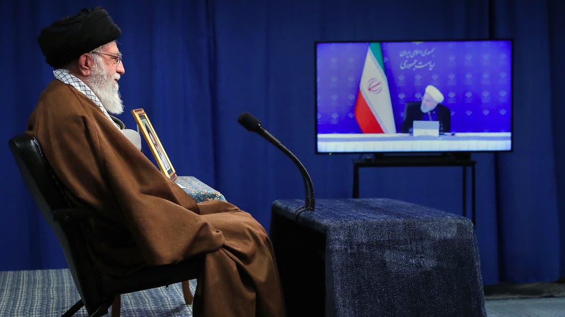Iran Supreme Leader Ali Khamenei speaking via a video conference with Iran's President Hassan Rouhani on May 10, 2020. (AFP)