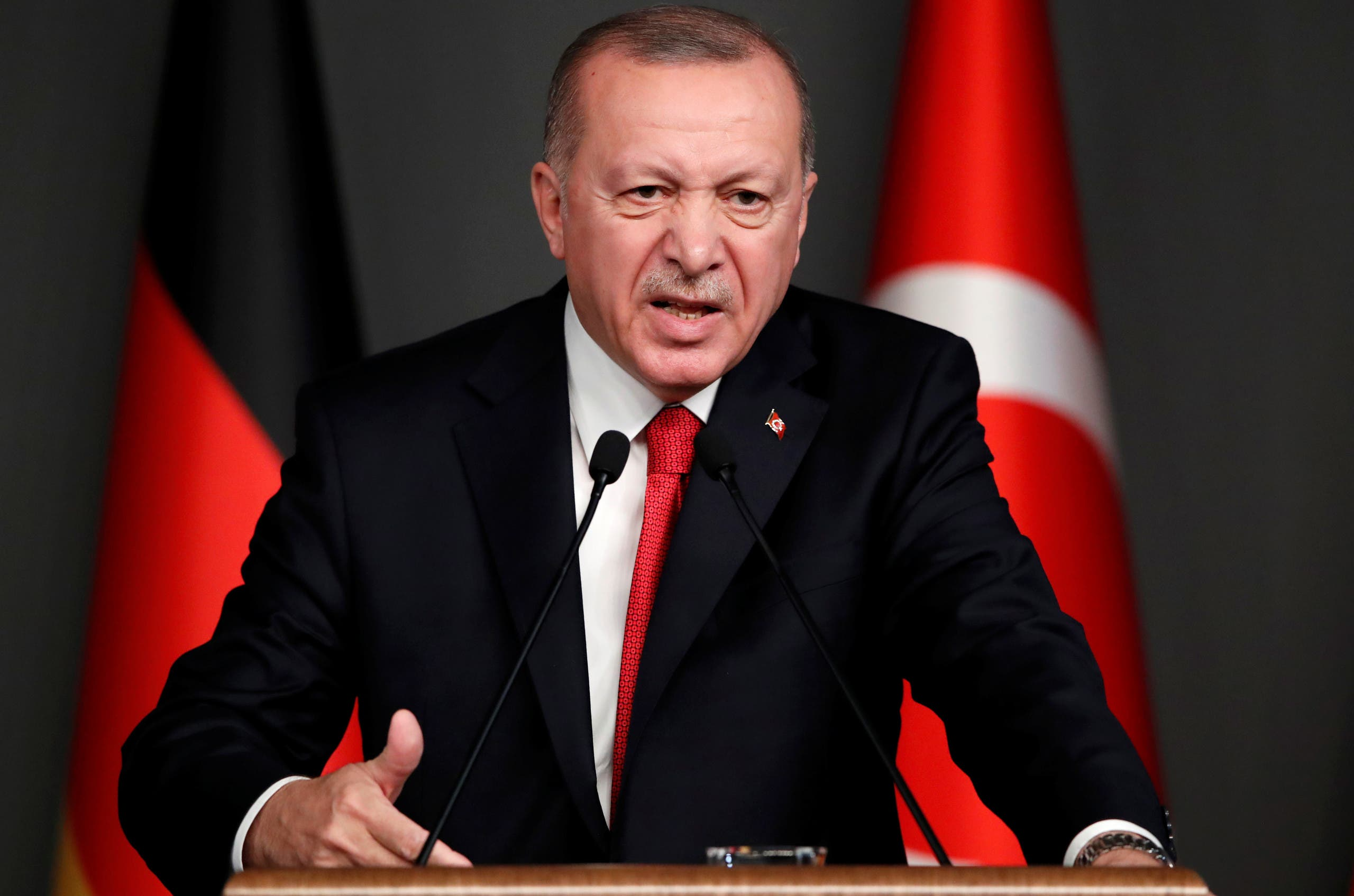 Turkish President Erdogan attends a news conference in Istanbul on January 24, 2020. (Reuters)
